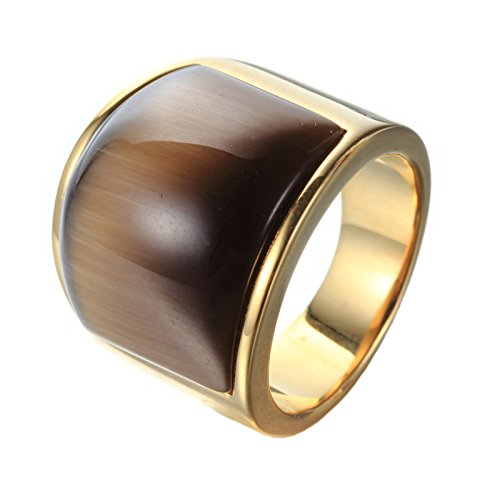 - PMTIER Men's Stainless Steel Opal Rings Cat's Eye Stone Gold and Brown Size 10
