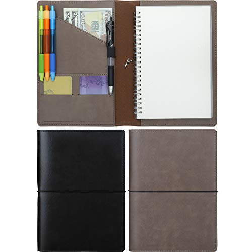 2 Pieces Notepad Cover for Rocketbook Fake Leather Journal Notebook Cover Refillable Notebook Covers with Pen Holder and Pockets,Suitable Size for 6 x 8.8 Inches Rocketbook (Black and Coffee ()