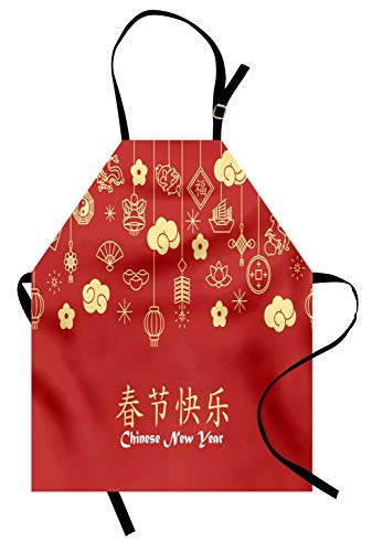 Ambesonne Chinese New Year Apron, Oriental Celebration Swirling Clouds and Ornaments, Unisex Kitchen Bib Apron with Adjustable Neck for Cooking Baking Gardening, Dark Coral Pale Yellow White -