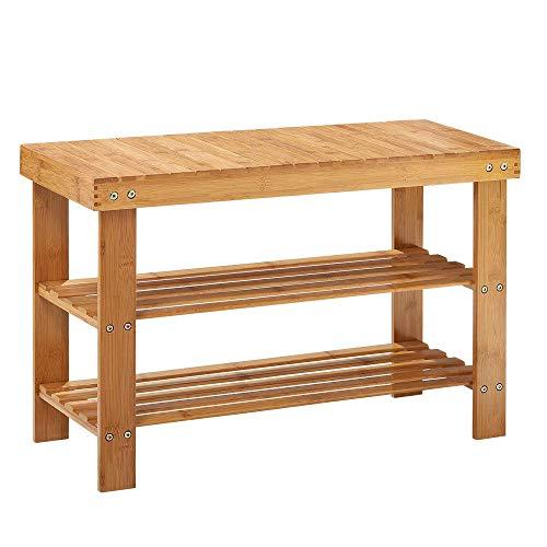 LIANTRAL Bamboo Shoe Rack Bench 2 Tier Shoe Organizer Entryway Seat Storage Shelf Hallway Furniture, 260 lbs Natural Color