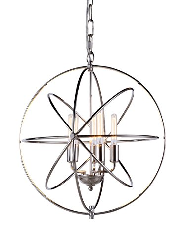 Elegant Lighting Vienna Collection 5-Light Pendant Lamp, Polished Nickel Finish