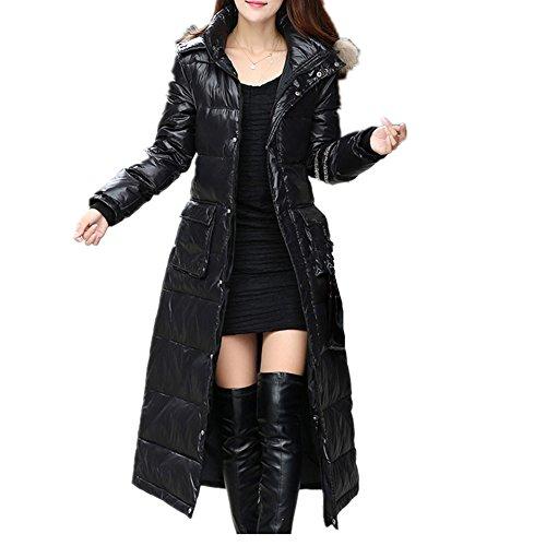 Piel Larga Con Para Mujer Sintética Engrosada De Doble Chaqueta Y Xichengshidai Cinturón Botonadura Negro Capucha 7ZBnqw4F