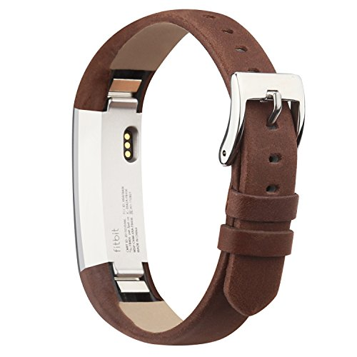 iGK Leather Replacemnt Bands Compatible for Fitbit Alta and Fitbit Alta HR, Genuine Leather Wristbands with Stainless Steel Buckle Coffee Brown