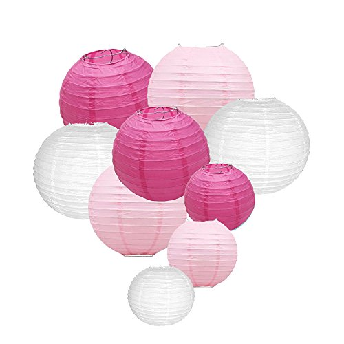 Sonnis Paper Lanterns 12'10' 8'Round lanterns for Birthday Wedding Baby Showers Party Decorations pink (9pack)