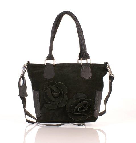 Italian Leather , Damen Tote-Tasche Schwarz schwarz