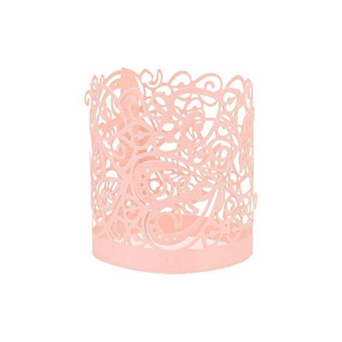 Pink Tealight Holders - Asenart Flameless Tea Light Votive Wrap Candle Holder Set (50 Pack) for LED Battery Tealight Candles (Not Included) (Pink)