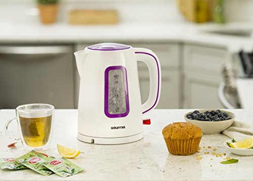 Gourmia GK220 Supreme Electric Tea Kettle - Cordless - Speed Boil - Auto Shutoff - Boil Dry Protection - Concealed Heating Element - 360° Swivel Base - 1.7L - 1500 Watts - 110/120V - White/Purple by Gourmia (Image #1)