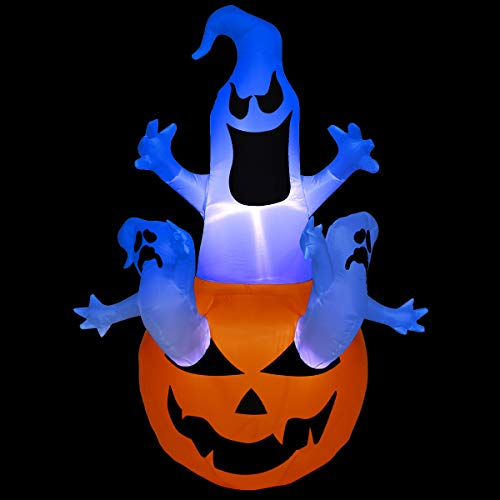 LAOSSC 6 Foot Halloween Inflatable Pumpkin with 3 Ghosts Halloween Decorations for Indoor and Outdoor - Lanterns Lighted Holiday Home Décor