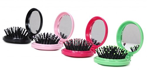 - LOUISE MAELYS 4pcs Round Folding Pocket Hair Brush Mini Hair Comb with Makeup Mirror for Travel Candy Color