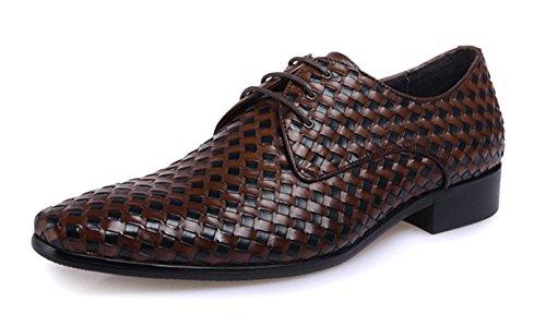 los Vestido de hombres negocio s Men' tejido Men hasta 's cuero de novia zapatos de tejer zapatos zapatos Grade brown Vestidos High de HYLM aSHqwT1w