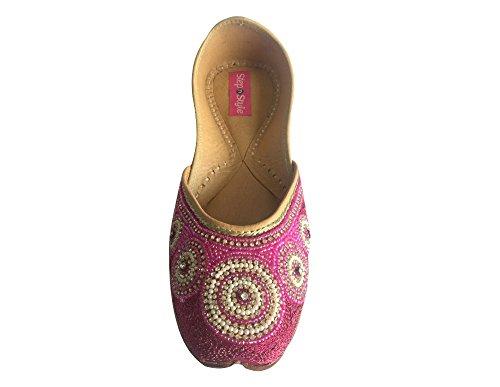 Schritt N Style Damen Khussa Schuhe Panjabi jutti Ethnic mojari flach Ballett Tribal Schuhe Dunkelrosa
