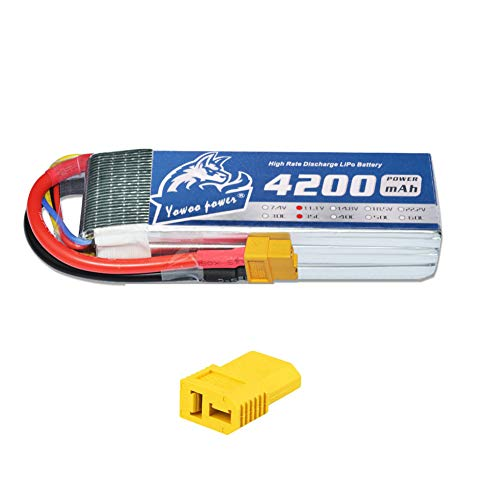 YOWOO 3S LiPo Battery 4200mAh 11.1V RC Lipo Batteries 35C with XT60 and Deans T Connector for RC Fixed-Wing Helicopter DJI Multi-axis FPV Drone (5.35X1.65X1.01in, 0.71lb) (11.1v 4200mah)