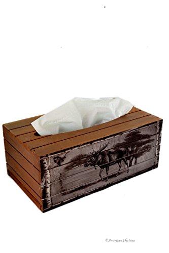 - American Chateau Brown Cottage Decor Moose Dark Wood Kleenex Dispenser Tissue Box Cover Holder