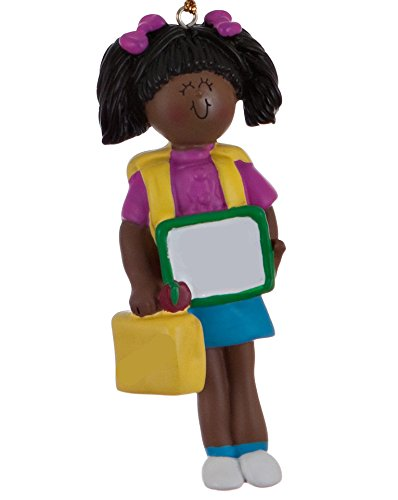 Ethnic First Day of School Girl Christmas Ornament
