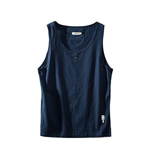 FONMA Men's Cotton Linen Solid Color Sleeveless Retro Vest Tops Blouse Dark Blue]()