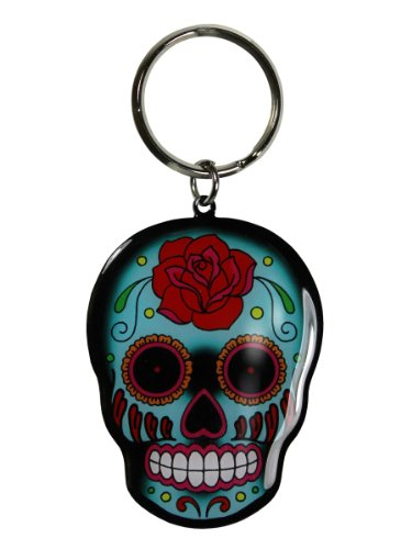 Sunny Buick - Rose Sugar Skull - Metal Keychain -