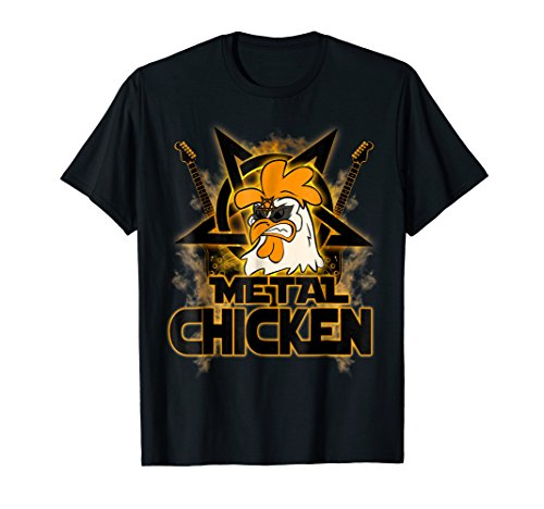 Hail Satan Metal Chicken Rock n Roll Halloween T-Shirt ()