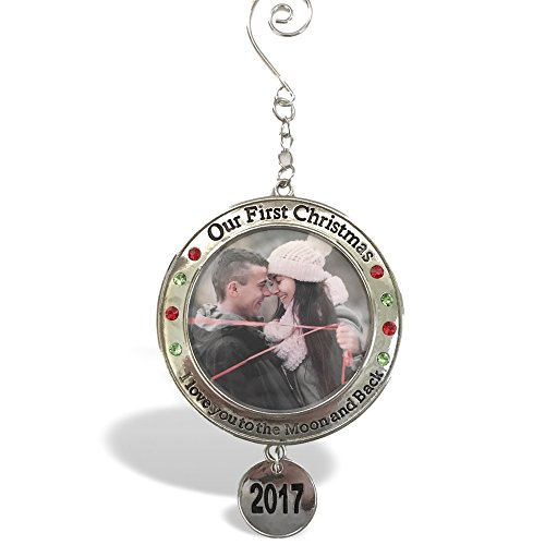 2017 Our First Christmas Ornament - 1st Xmas Ornament with Picture Opening - I Love You to the Moon and Back Engraved on it - Christmas Photo Ornaments