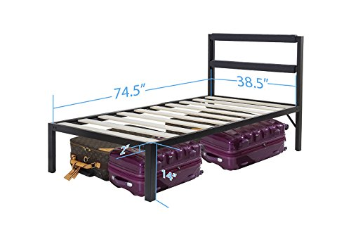 Olee Sleep Heavy Duty 14 Inch Tall Bed Frame with Headboard Platform Bed 4000HB 14BF11 (Twin - 14 inch)