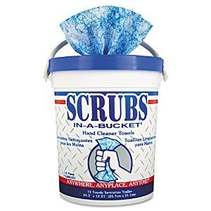 (Scrubs - Hand Cleaner Towels, 10 1/2 x 12 1/4, Blue/White, 72/Bucket - 6 Buckets/Carton)