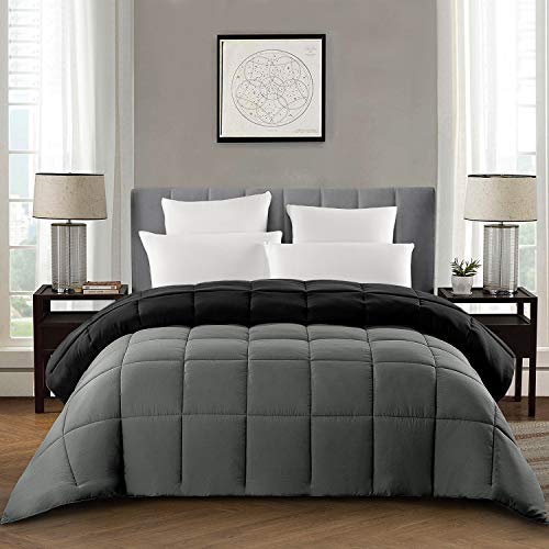 HOMBYS King Down Alternative Reversible Comforter -All Season Hypoallergenic Tabs Gray Duvet Insert – Machine Washable- Breathable Warm Quilted Bed Comforters with Corner Tabs(King,Grey)