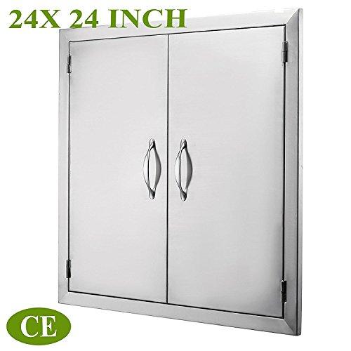 Mophorn BBQ Door 24''Wx24''H Double BBQ Island Door 304 Stainless Doors Rust ResistantFlush Mount Perfect for Outdoor Kitchen by Mophorn