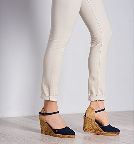 VISCATA Satuna Ankle-Strap, Closed Toe, Classic Espadrilles with 3-inch Heel Made in Spain Navy blue