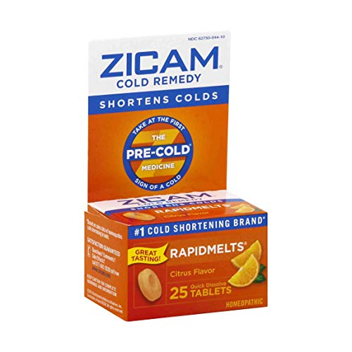 Zicam Cold Remedy Citrus RapidMelts, 25 Quick Dissolve Tablets, Clinically Proven to shorten colds when taken at the first sign, homeopathic