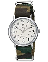 Timex TW2T30800 Weekender 40 reloj de nailon con correa de camuflaje verde para hombre