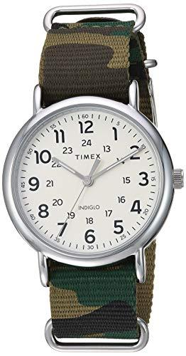 (Timex Men's TW2T30800 Weekender 40 Green Camo Nylon Slip-Thru Strap Watch)