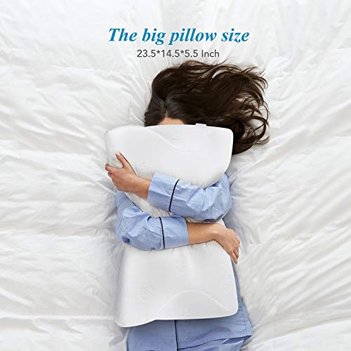 Cervical Pillow Ergonomic Bed Pillow for Side /& Back Sleepers with Hypoallergenic Pillowcase UUQ Memory Foam Butterfly Pillow Orthopedic Contour Pillow for Neck and Shoulder Pain
