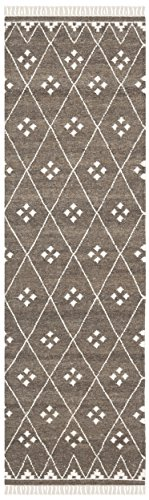 - Safavieh Natural Kilim Collection NKM316A Flatweave Brown and Ivory Wool Runner (2'3
