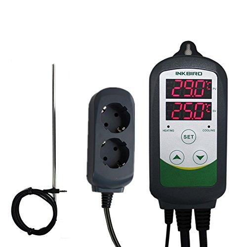 Inkbird ITC-308S Termoregolatore Digitale Termostato Temperature Controller Doppio Relè Presa di Corrente + 12' Acciaio Lungo NTC Sensore