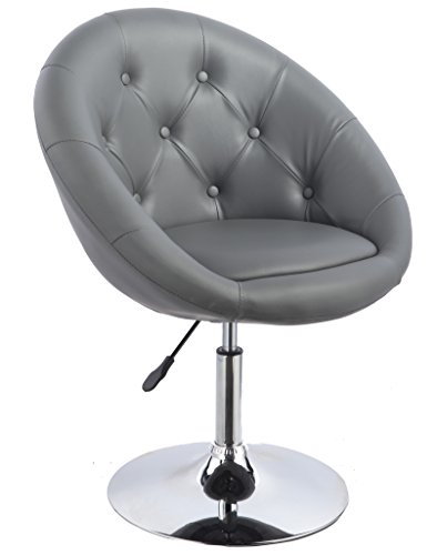 Duhome Luxury Grey Vanity Accent Home Office Chair PU Leather Contemporary Round Swivel Accent Chair Tufted Adjustable Lounge