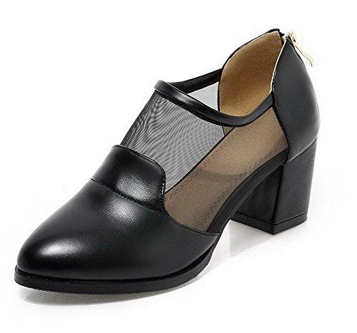 VogueZone009 Women's Soft Material Pointed Closed Toe Kitten-Heels Zipper Zipper Pumps-Shoes Black JB8Y24InJS