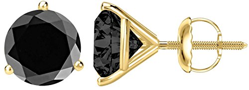 1 Carat Total Weight Black Diamond Solitaire Stud Earrings Pair 14K Yellow Gold Popular Premium Collection 3 Prong Screw - Three Gold Solitaire Yellow Prong