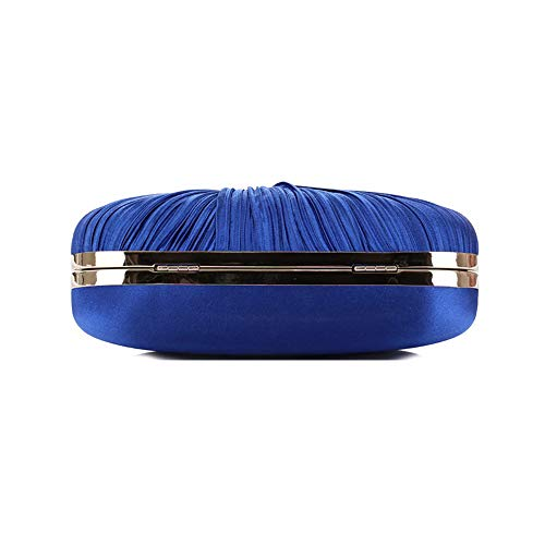 Blue Pleated for Evening Women Evening Party Womens Navy Handbag Clutch Purses Satin PyYywd4q