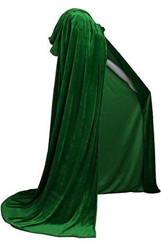 LuckyMjmy Unlined Velvet Medieval Renaissance Hooded Cloak Cape (Medium, Dark Green)]()