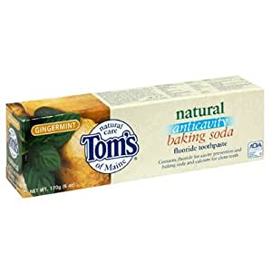 Tom's of Maine Natural Anticavity Baking Soda Fluoride Toothpaste, Gingermint, 6-Ounce Tube