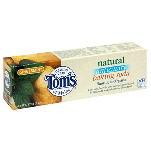 Gingermint Toothpaste - Tom's of Maine Natural Anticavity Baking Soda Fluoride Toothpaste, Gingermint, 6-Ounce Tube