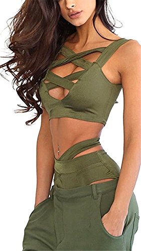 Deadpool Cosplay Tutorial (David Salc Women Criss Cross Bandage Swimsuit High Waist Hollow 2PCS Bikini Set Army Green(US 4-6,Tag)