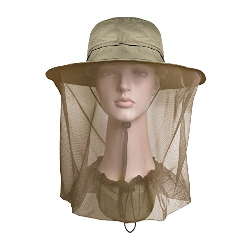 Lenikis Outdoor Sun Protection Hats with Mosquito Head Net Khaki by Lenikis
