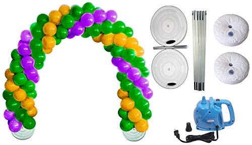Balloon Arch Deluxe DIY Professional Kit with Mardi Gras Gold, Green and Purple Balloons (1/Pkg) Pkg/1
