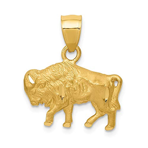 14k Yellow Gold Buffalo Pendant Charm Necklace Animal Wild Man Fine Jewelry Gift For Dad Mens For Him