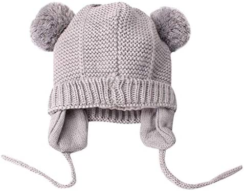 Diadia Baby Pom Pom Hat Diamond Pattern Winter Toddler Hats Knitted Hemming  Skullies Beanies Hat Baby Hat Kids Girl Boy Hats Knitted Hemming Cap (Grey) 3192b5fe8644