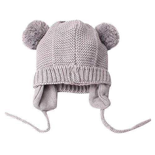 Longay Cute Toddler Kids Girl&Boy Baby Infant Winter Warm Crochet Knit Hat Beanie Cap (Gray)