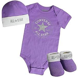 Converse All Star Baby Grow Hat Booties Girls Set 564879 P1R Purple