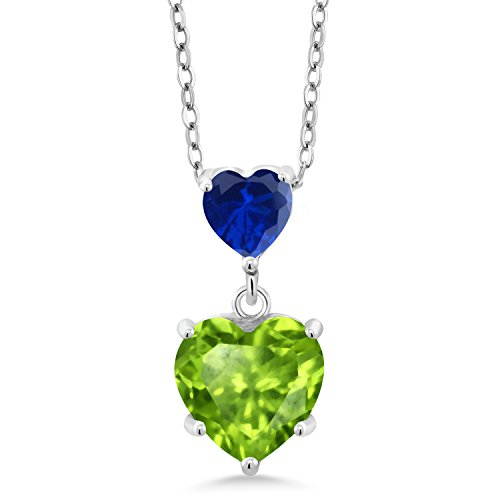 Gem Stone King 2.11 Ct Green Peridot Blue Simulated Sapphire 925 Sterling Silver Double Heart Shaped Pendant