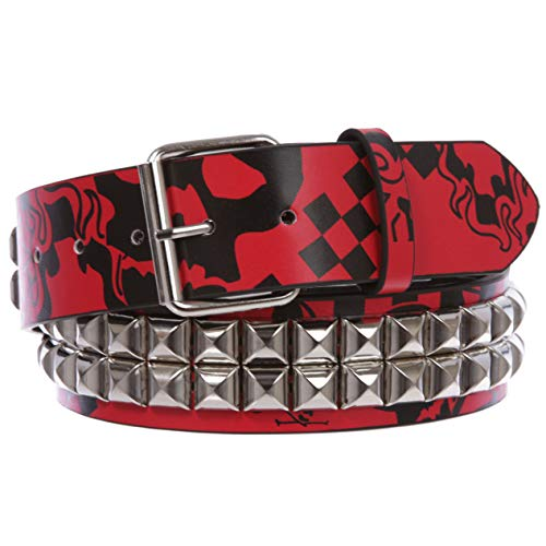 (Snap On Art work Skull Cross Bone Tattoo Print Punk Rock Silver Star Studded Leather Belt, Red/black | S/M - 32)