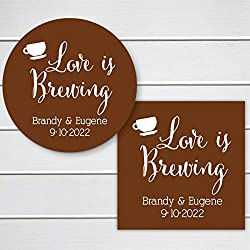 Love is Brewing Color Background Wedding/Event/Celebration Coffee or Tea Favor Stickers (#095-SS)